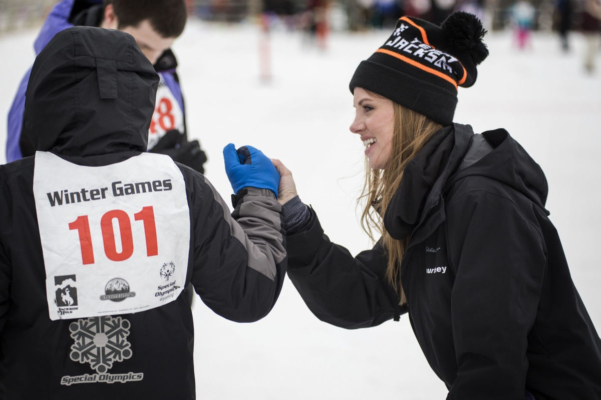 Winter Games Coach with Athlete